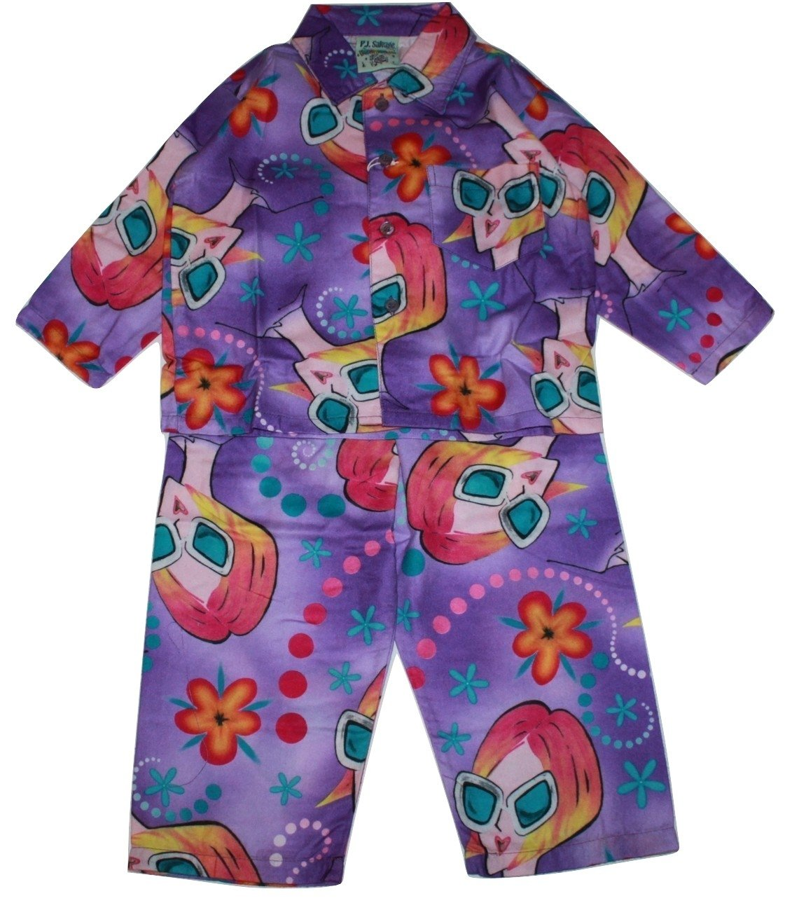 PJ Salvage Toddler Girls Flame Resistant Polyester Flannel Pajamas (Sunglasses Print, 3T)