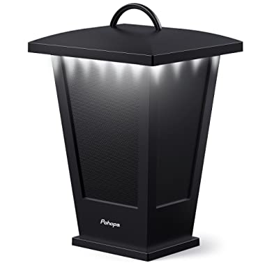 Bluetooth Speaker Waterproof, Portable Outdoor Wireless Speaker with LED Strip Lights Around, Support 2 or More Speakers 5.8Ghz Pairing Sync Shared Audio,Lantern Design Black Pohopa