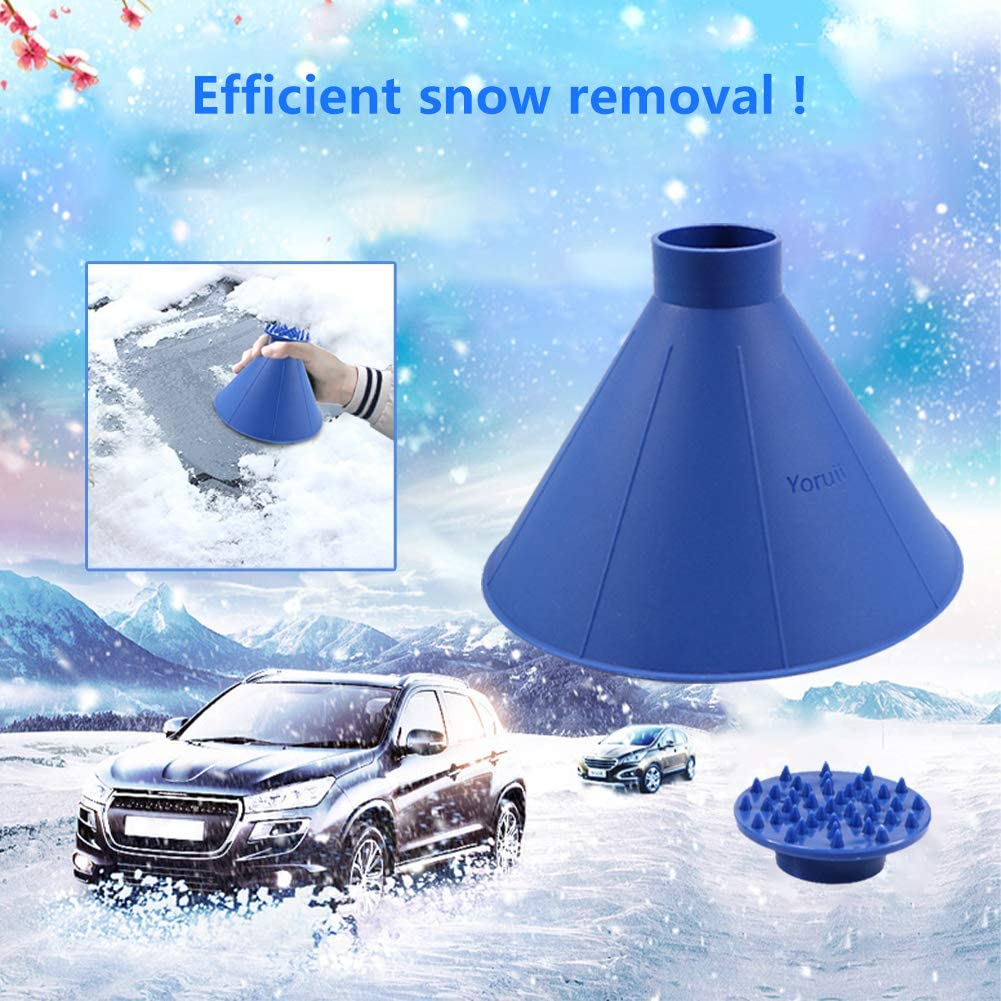 Yoruii Ice Scrapers Wiper Cone-Shaped Round Car Windshield Conical Round Funnel Portable Multi-Function for Car Truck Snow Removal Tool Winter 2Pack