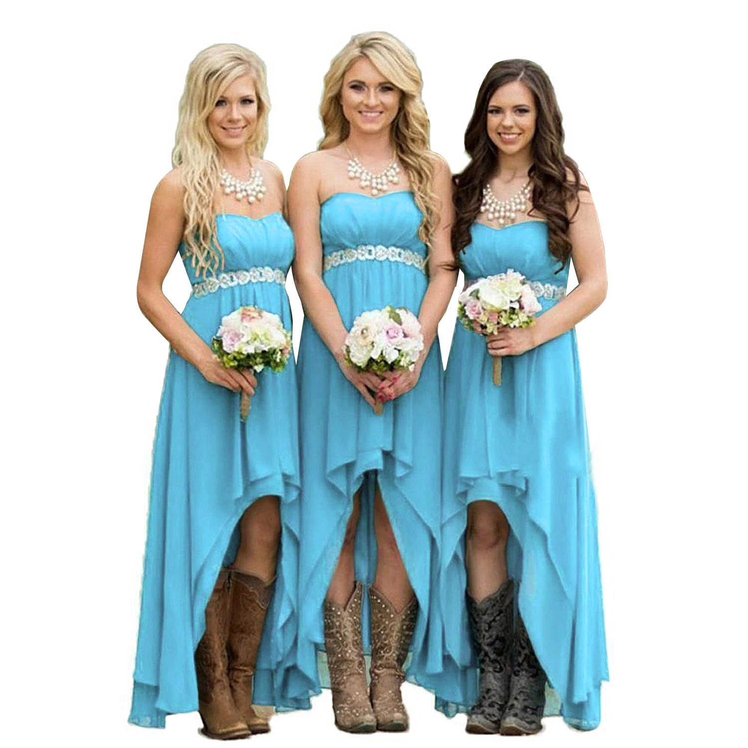 Fanciest Women\' Strapless High Low Bridesmaid Dresses Wedding Party ...