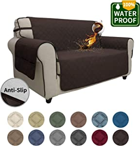 Easy-Going Sofa Slipcover Loveseat Cover Waterproof Couch Cover Furniture Protector Sofa Cover Pets Covers Seamless Whole Piece Non-Slip Fabric Pets Kids Children Dog Cat (Loveseat, Chocolate)