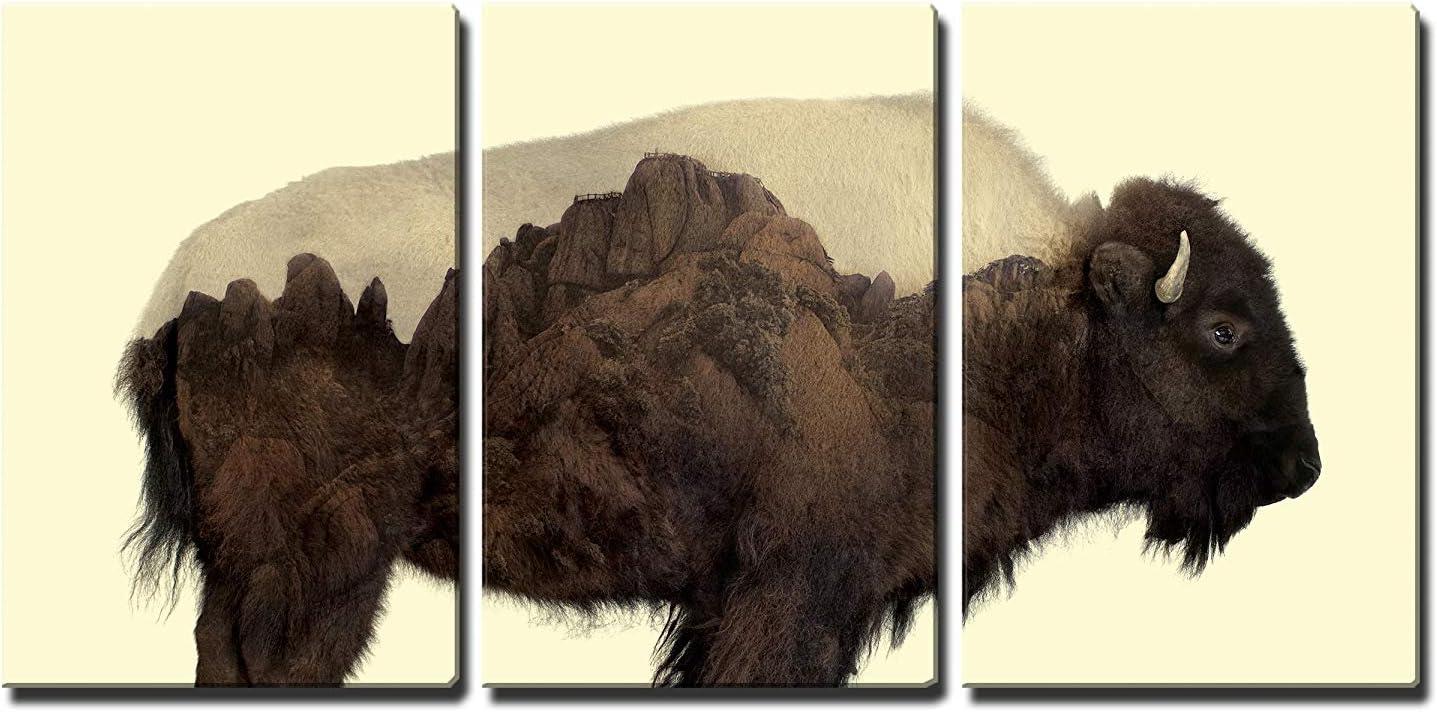 """wall26 - Buffalo and Rocky Mountains - Canvas Art Wall Art - 16""""x24""""x3 Panels"""