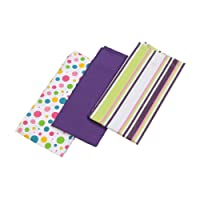 Homescapes - Pure Cotton Tea Towels Set of Three - Plain Purple 50 x 70 cm - Fully Coordinated Washable Kitchen Linen