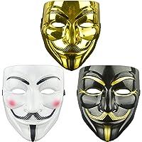 DWTECH 3 Pack V Voor Vendetta Masker Volwassenen/Kids Guw Fawkes Masker Anoniem Masker, Wereldboek Week, Halloween Kit…