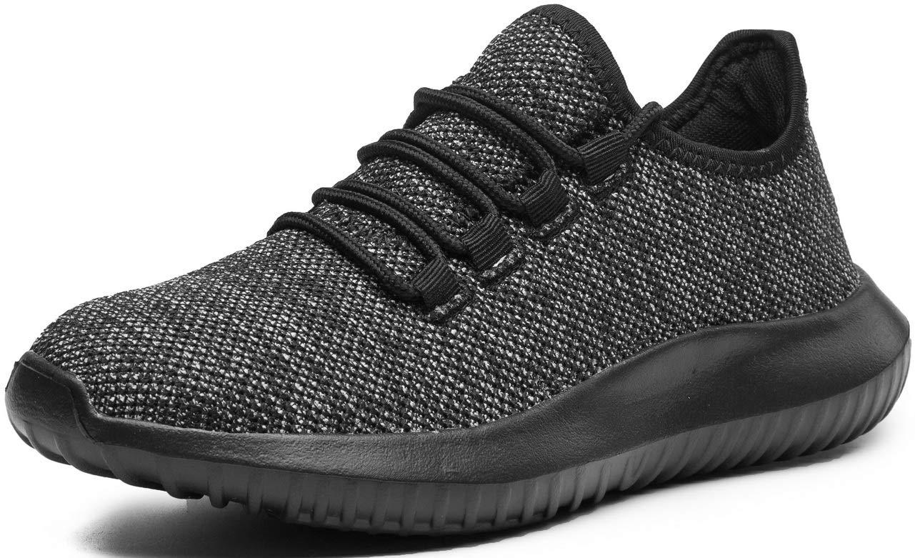 eslla Women's Fashion Sneakers Casual Fitness Walking Shoes,Black,8 M US