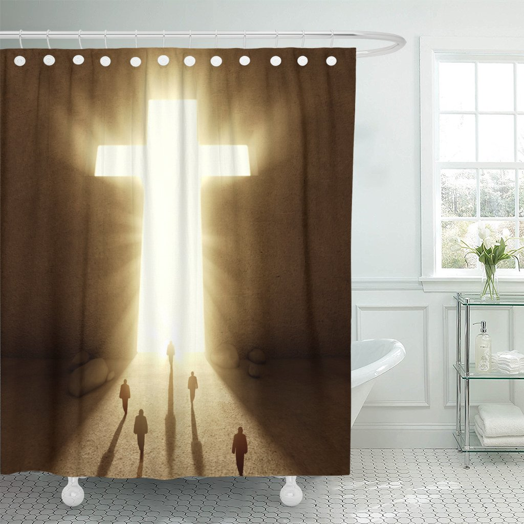 VaryHome Shower Curtain Christian People Walking Towards Huge Cross Passage Church Waterproof Polyester Fabric 60 x 72 Inches Set with Hooks