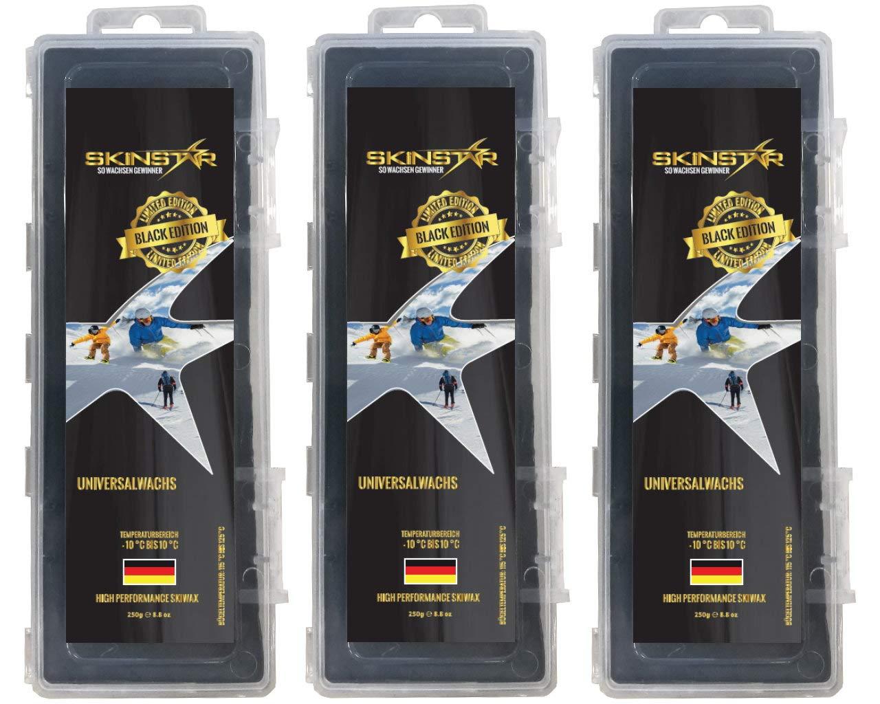 SkinStar Black Edition Universal Skiwachs Rennwachs Ski und Langlauf Wachs Ski Wax 750g