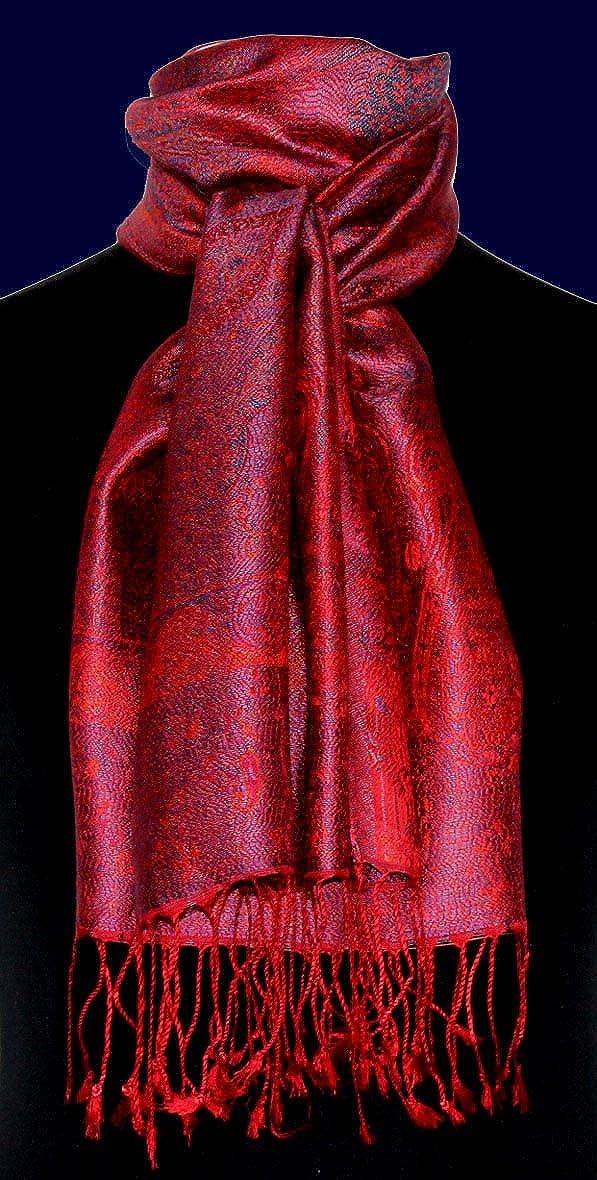 Lorenzo Cana Luxus Seidenschal Schal 100/% Seide jacquard gewebt harmonische Farben mit Fransen 35 cm x 160 cm Paisley Muster Seidentuch 78185