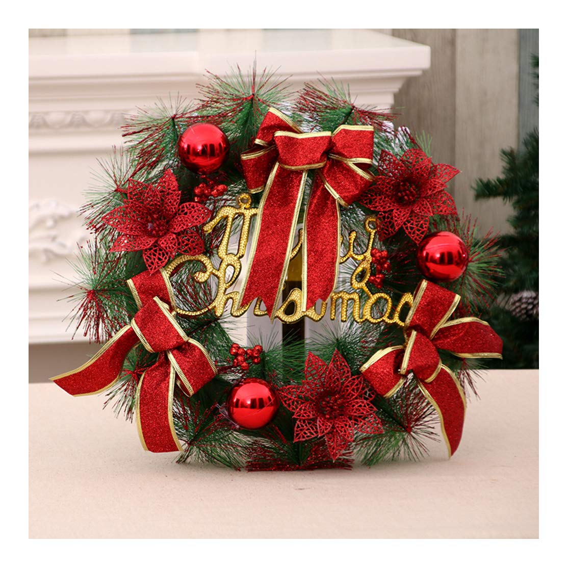 Deecen Standard Size Case, Christmas Flower Rattan Circle Ornament Simulation Christmas Wreath Mall Facade Decoration 16x16 Inch (40x40CM) - Red