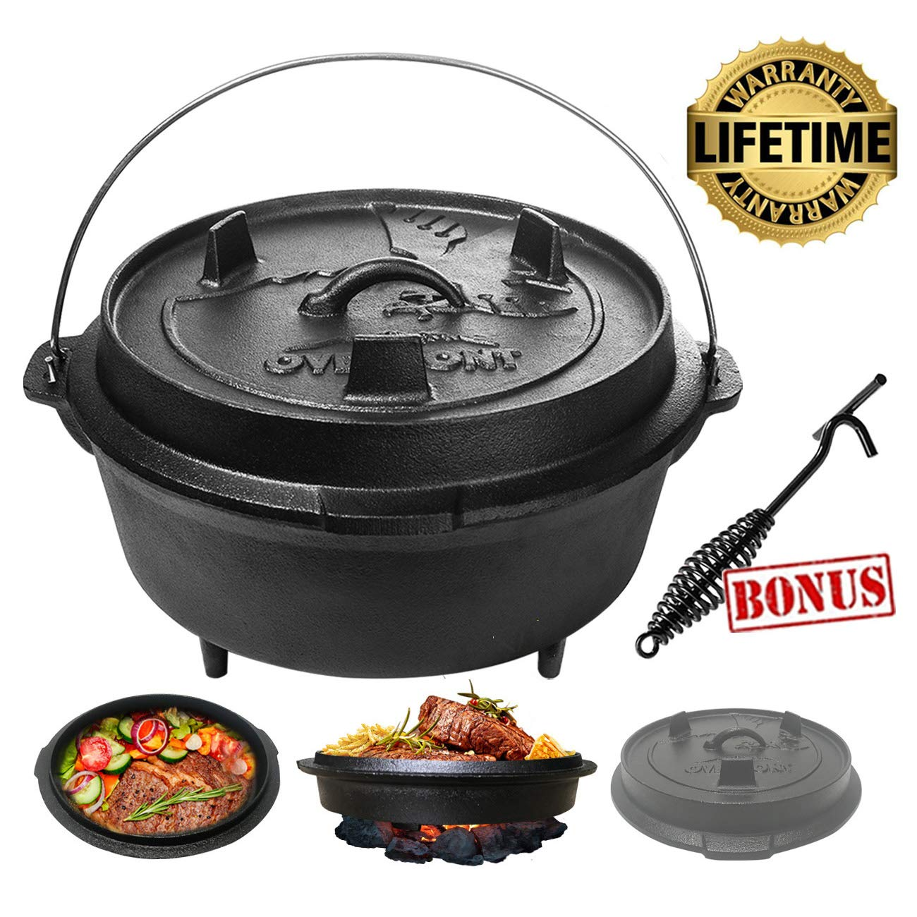 Overmont 6 Quart All-Round Dutch Oven【Dual Function Lid Skillet】【with Lid Lifter】【Pre Seasoned】 Cast Iron Dutch Oven Pot Handle for Camping Cooking BBQ Baking