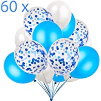 60 Globos Azul Blanco y Globos de Confeti