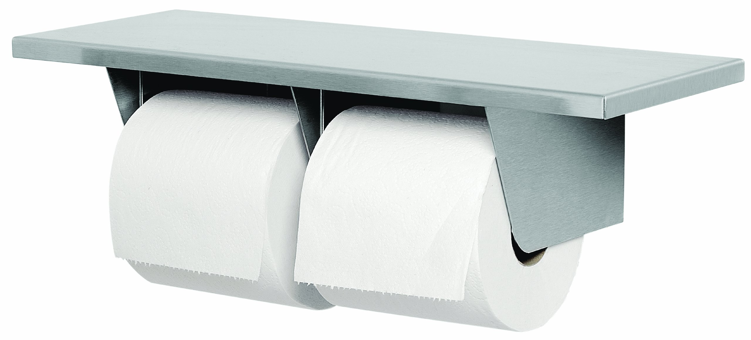 Bradley 5263-000000 Gauge Stainless Steel Toilet Tissue Dispenser with Shelf, 16'' Width x 3-15/16'' Height x 6'' Depth