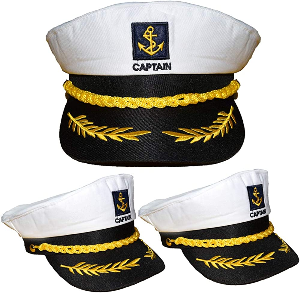 Teens Admiral Captain Hat Snapback Embroidery Anchor Skipper Nautical Party Hats