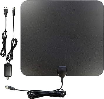 AntennaMastsRus - Antena de TV digital de 70 + millas - VHF interior - UHF HD con amplificador de +25 dB - 4 K - 1080P - Cable coaxial de 13 pies