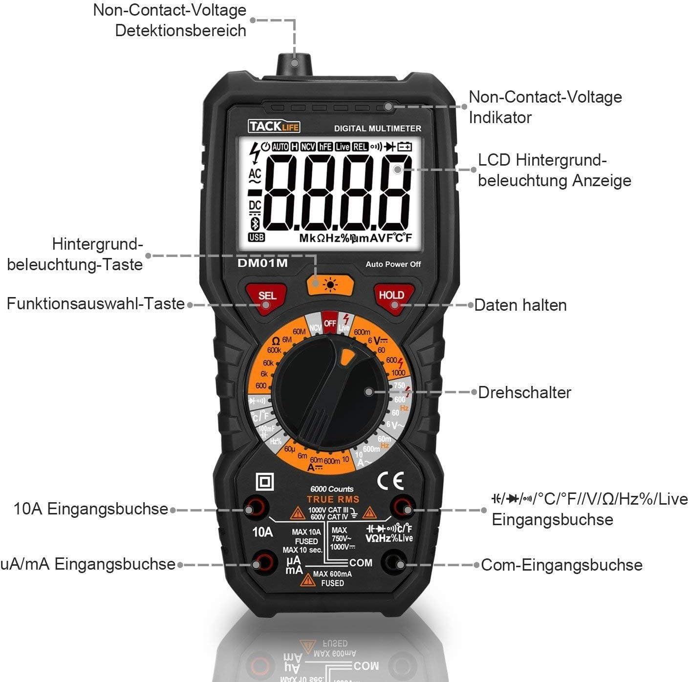 Beep Test de continuit/é avec /éclairage Live Line tacklife dm01/m Multi Testeur Multim/ètre num/érique avec d/étection de tension sans contact la temp/érature