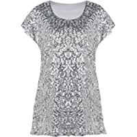 kayamiya Women's Sequin Top Glitter Short Sleeve Tunic Blouse Tops