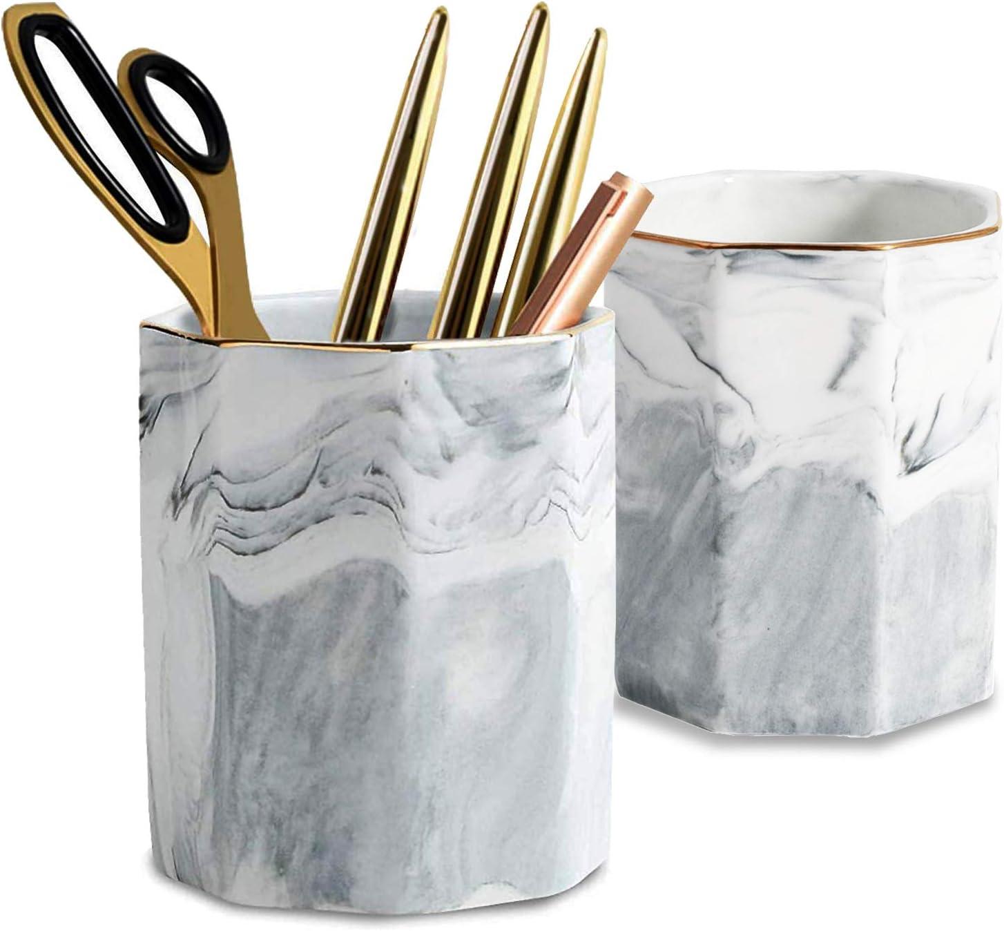 2 Pack Ceramic Pen Holder Stand,Cup for Desk Marble Pattern Makeup Brush Holder for Girls Women,Desk Accessories Holder,Durable Desktop Organizer Pencil Holder Pot Ideal Gift for Office Home (Gray)