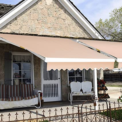 detailed look 42051 623d0 JOO LIFE Manual Patio Retractable Awning Window/Door Sun Shade Shelter  Outdoor Canopy Deck Awning (10'x8',Beige