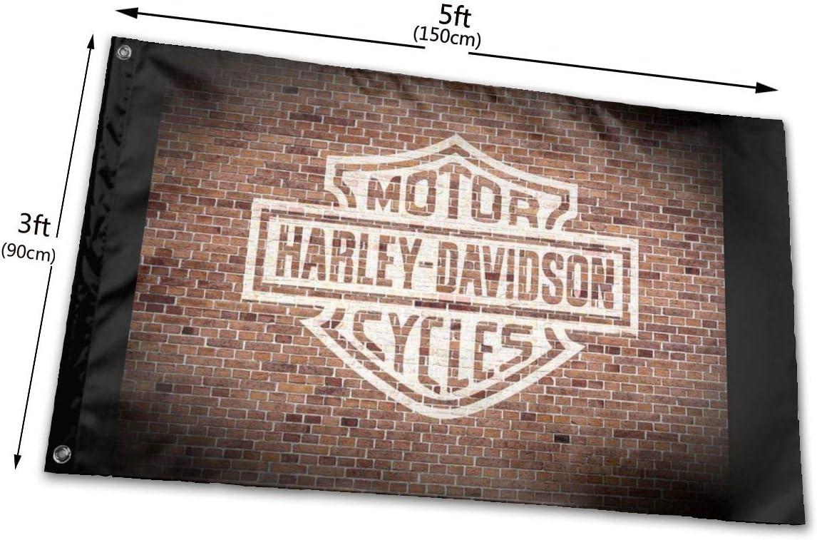 3 x 5 pies Banderas de bandera de Harley Davidson pintadas en ladrillo viejo de pared