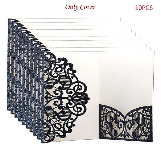 Jiay - Lote de 10 Cubiertas para Tarjetas de invitación de Boda ...