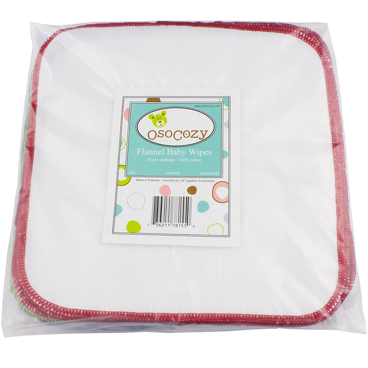 OsoCozy Flannel Baby Wipes - Reusable And Washable - 15 Pack (Unbleached)