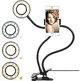 MVPOWER Handy Halterung mit LED Licht für Live Stream, Dimmbar [3 Lichtmodus] [9-stufige Helligkeit], 360° drehbar Schwanenhals Handyhalter mit Klammer für MAX. 80MM, universal Handy Halter Ständer