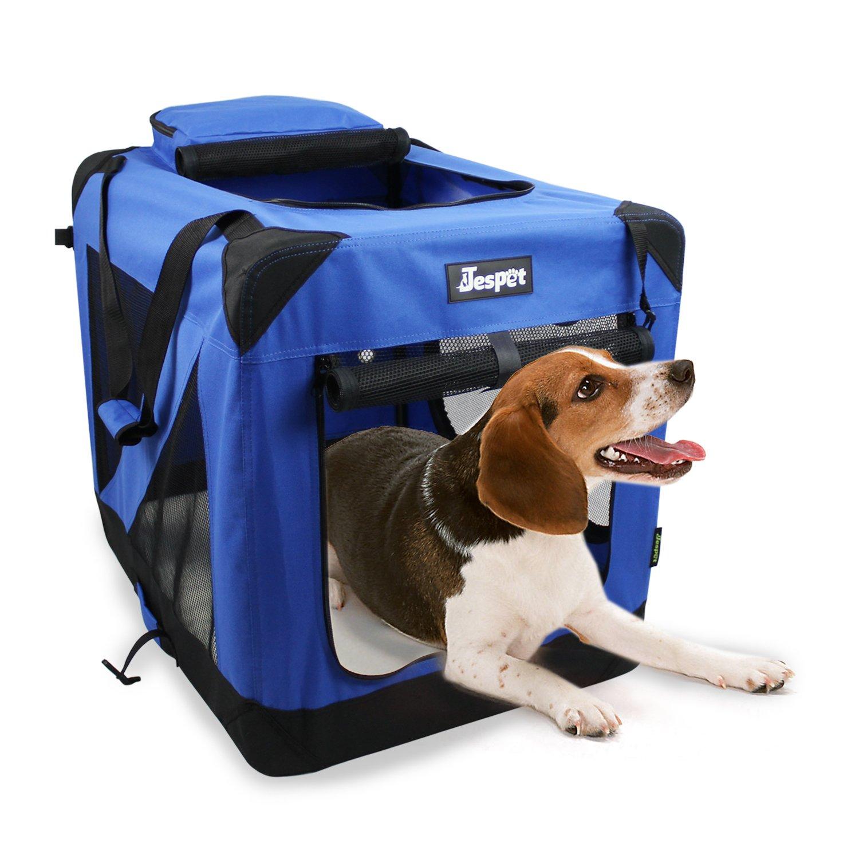 bluee 30\ 30\ bluee 30\ 30\ Jespet 30  Deluxe bluee Indoor Outdoor Soft Dog Crate, 3 Doors with Fleece Mat & Storage Pockets