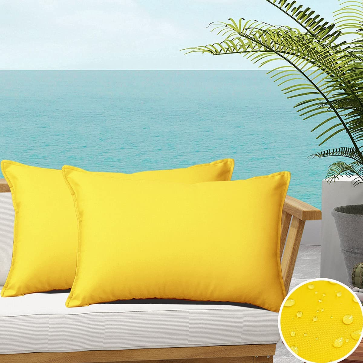 SOFJAGETQ Yellow Outdoor Waterproof Throw Pillow Covers Summer Durable Vibrant Decorative Cushion Shem for Patio Funiture, Garden, Outdoor Sofa ( 12x20 Inches, 2 Pack )