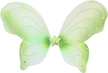 FOXXEO Alas de Mariposa Verde alas de Hadas para Disfraz de ...