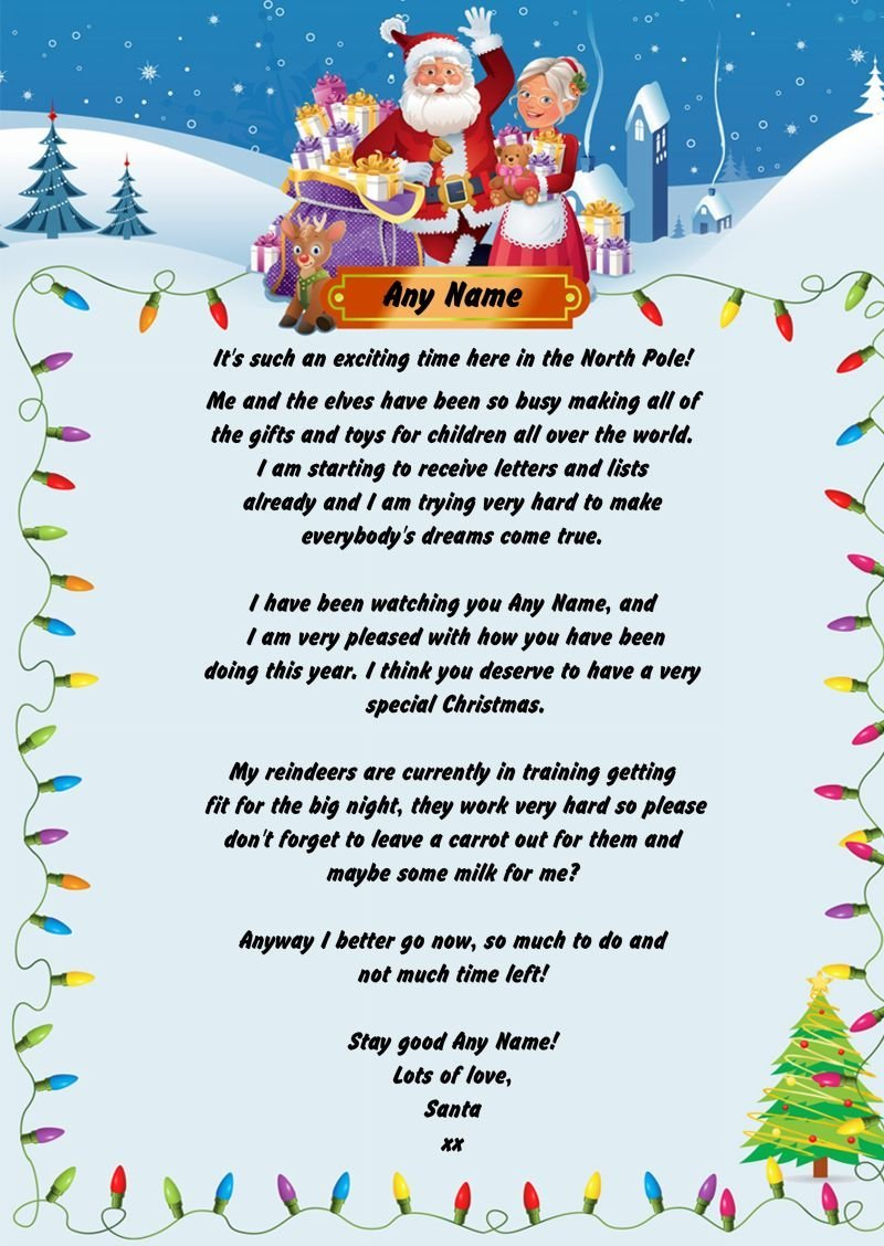 Personalised letter from santa claus a truly personalised letter lights personalised christmas letter from santa spiritdancerdesigns Image collections