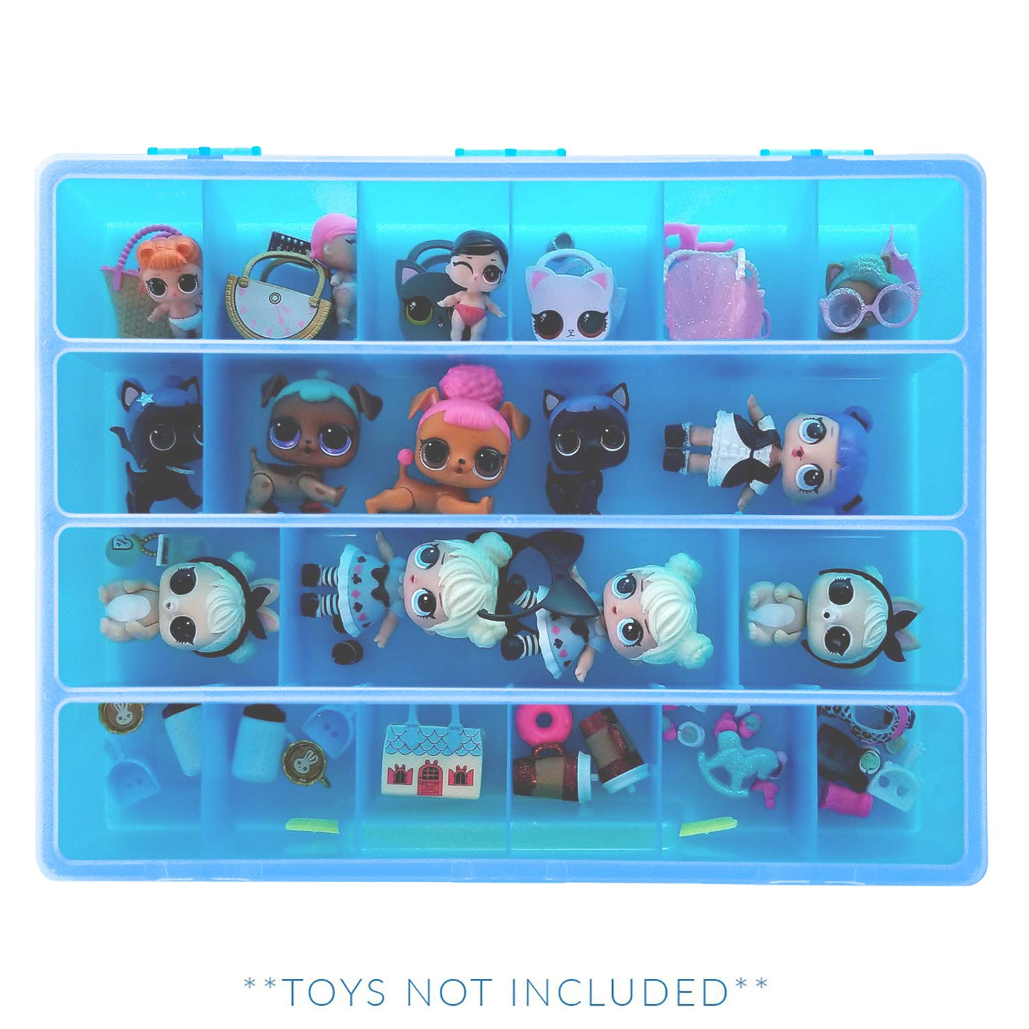 Life Made Better Organizer Box for Dolls and Accessories, Great Gift Idea for Big Sister and Lil Sister, Blue