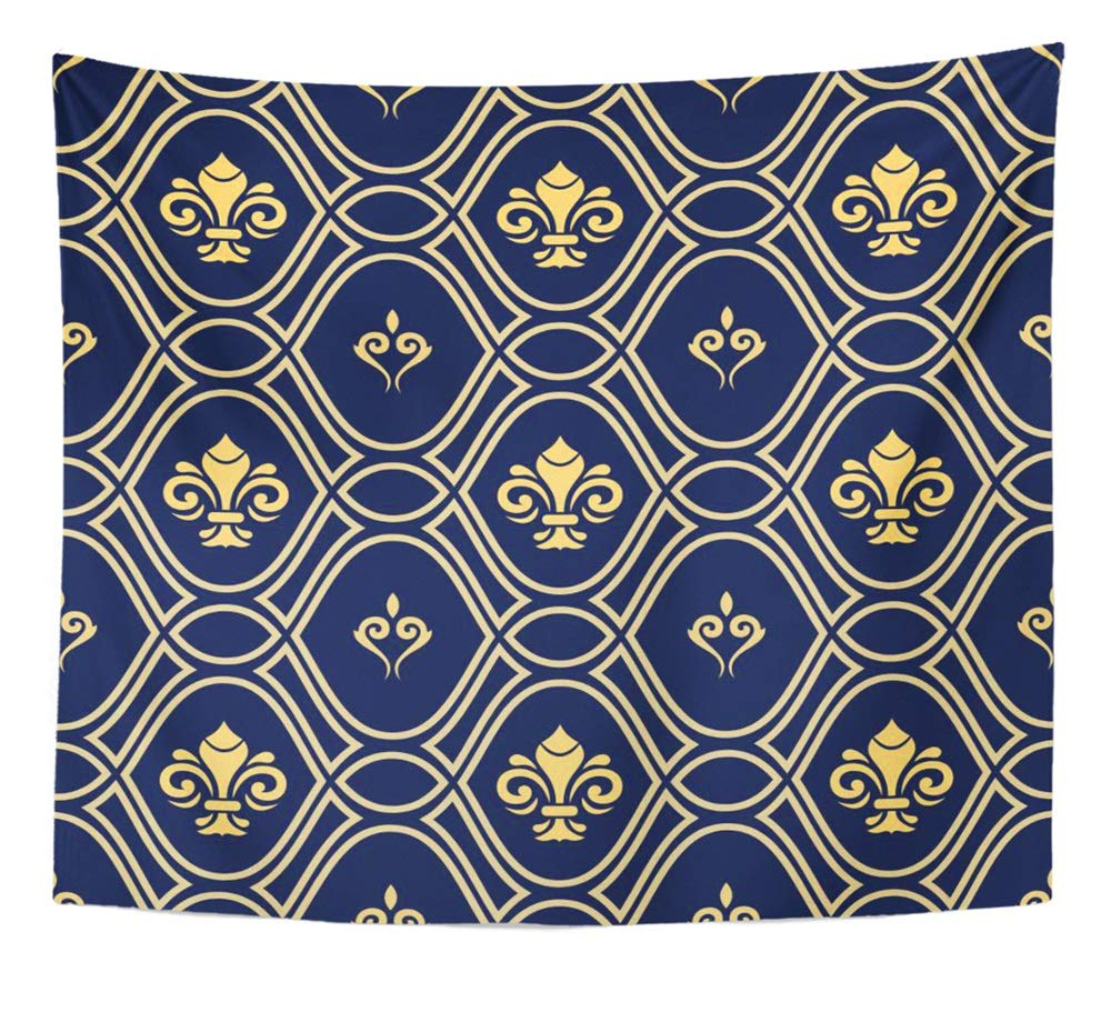 Emvency Tapestry Artwork Wall Hanging Navy Blue and Goldenn Pattern Modern Geometric with Royal Lilies Classic Vintage 50x60 Inches Tapestries Mattress Tablecloth Curtain Home Decor Print