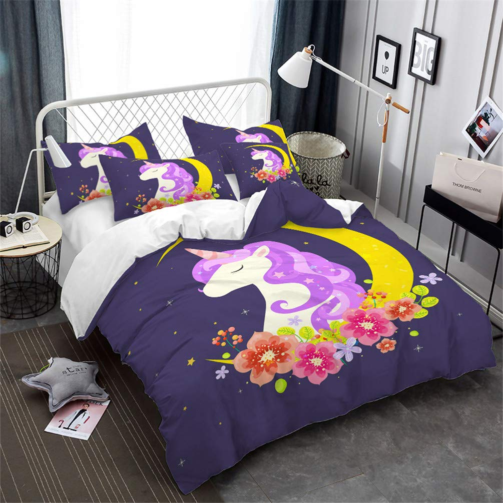 Children's Bedding Cute Cartoon Unicorn Pattern Print Microfiber Duvet Cover 3pcs, Super Comfortable and Smooth, Hypoallergenic, Moisture and Dust Mites Resistant Realin