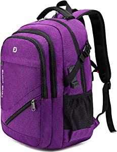 FENGDONG Durable Waterproof Travel Large Laptop Backpack 17.3 inch,College Backpack Bookbag for Women & Men Business Backpack with USB Charging Port and Headset Port Purple