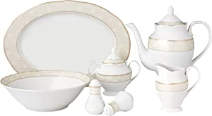 Lorren Home Trends 24 Piece Wavy Porcelain Atara Collection Dinnerware Set, Silver