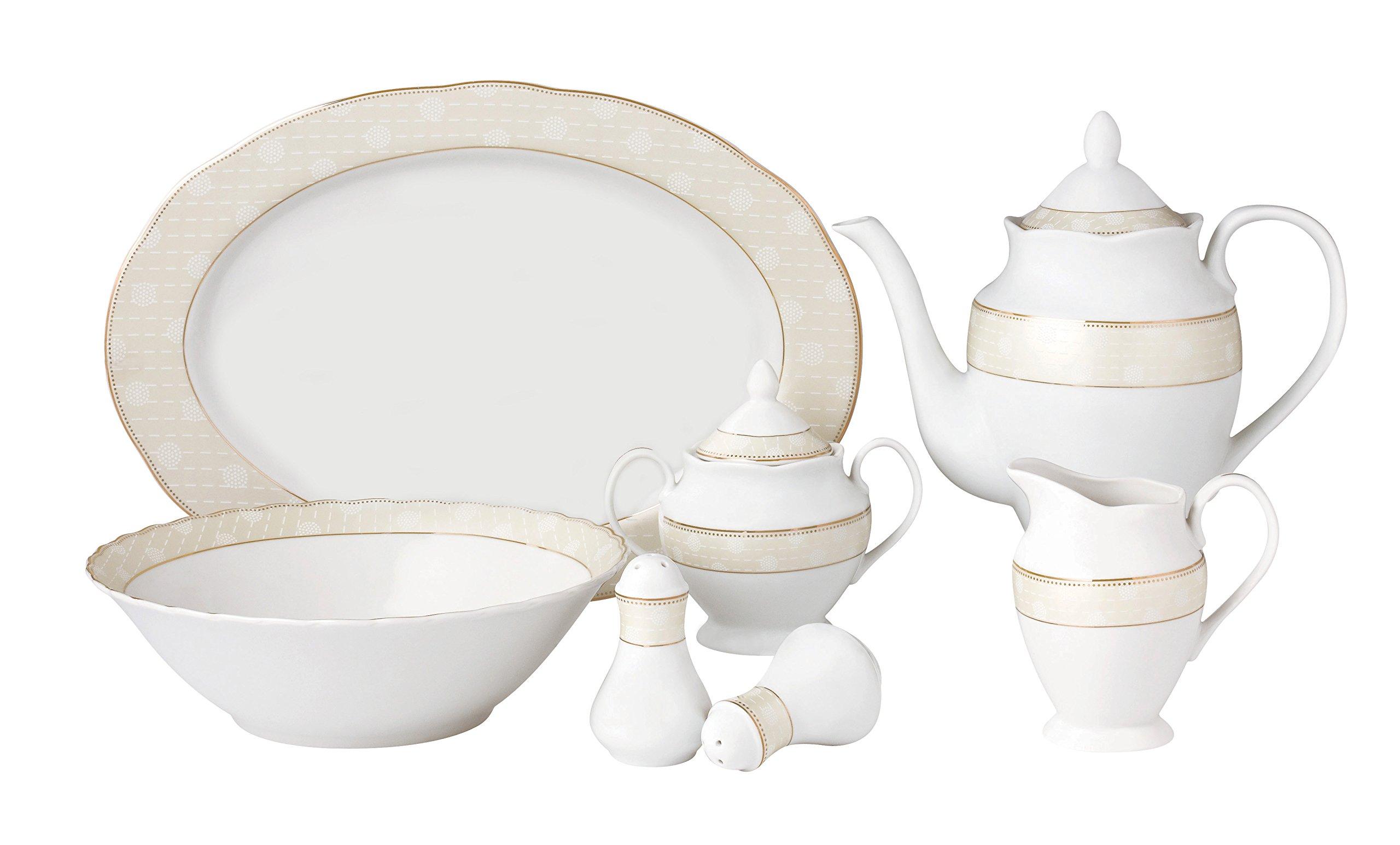 Lorren Home Trends Tova-57 57 Piece Wavy Porcelain Tova Collection Dinnerware Set, Gold