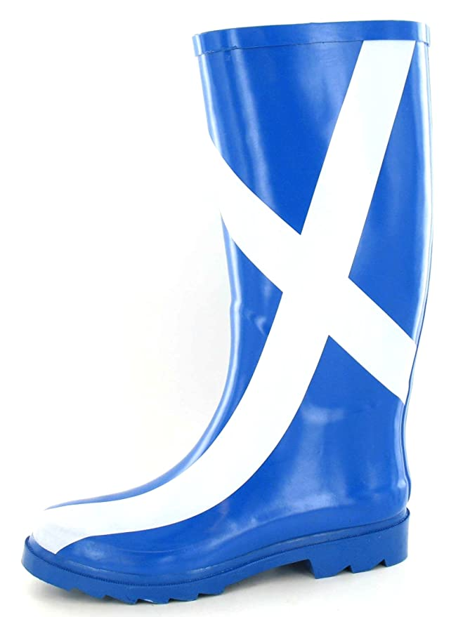 Funky Ladies Scottish Flag Print Damen Gummistiefel Regen Stiefel Festival Gummistiefel (5 UK)