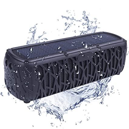 Solar Speaker Outdoor Portable Bluetooth Wireless Waterproof Speaker IPX5  With 5000mAh Power Bank, Dual Speaker With Mic, Superior Stereo Sound with