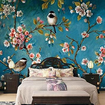 Fototapete 3D Stereo Chinesische Blumen Vögel Wandbild ...