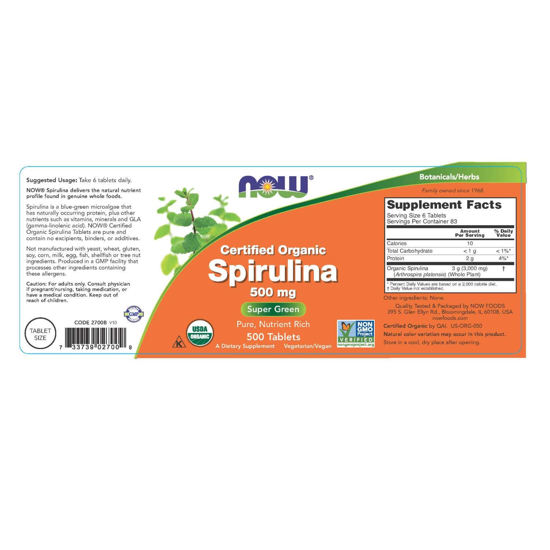 Certified Organic Spirulina, 500 mg, 500 tabletas - Now Foods