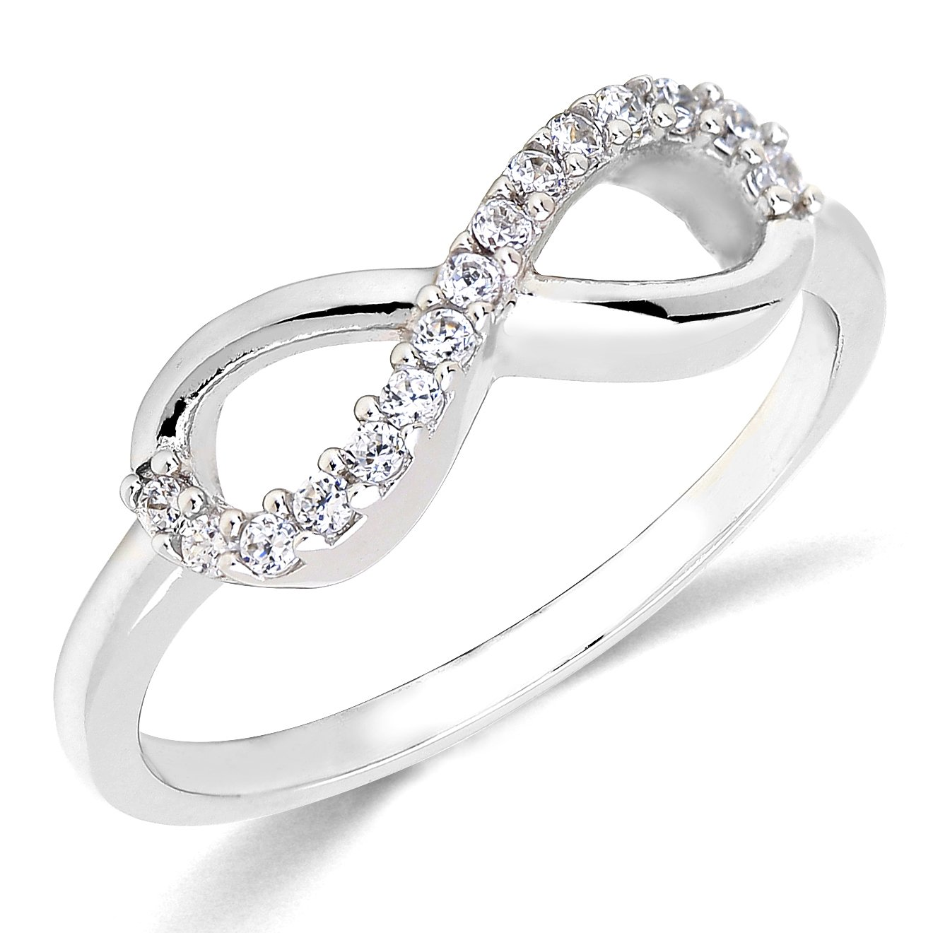Sterling Silver Rhodium Plated Forever Infinity Ring Love & Friendship Sizes 3~9 Lovearing SR1836