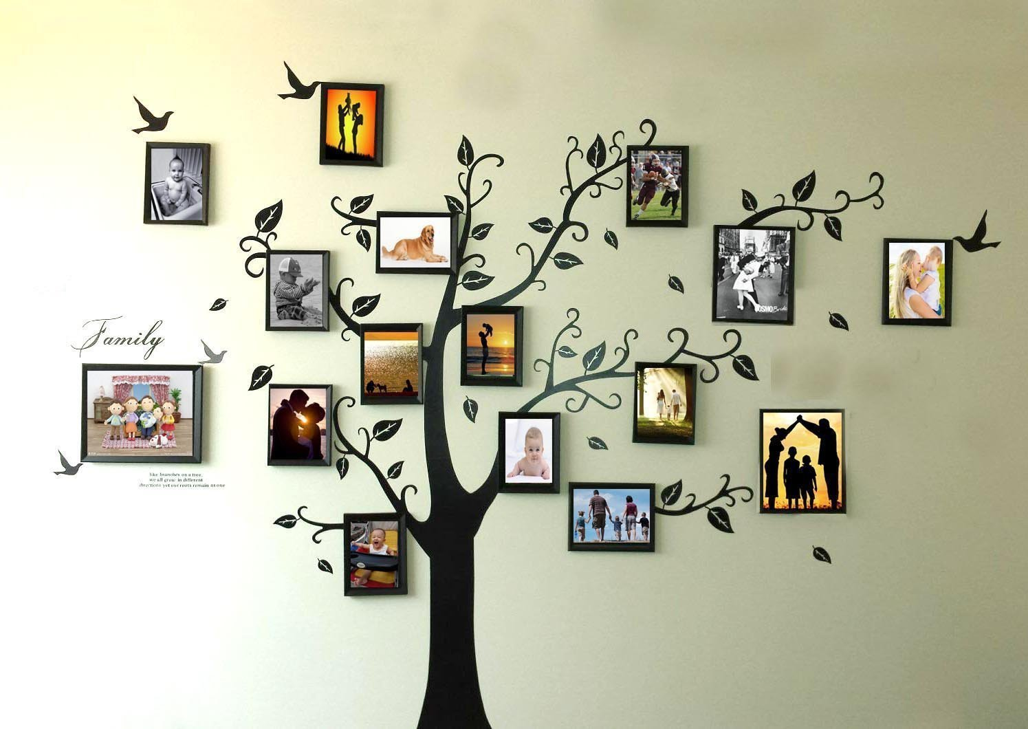 Rainbow Fox Large Black Photo Frames 16 Frames Memory Tree Photo Tree Wall Vinly Decal Decor Sticker Removable Wall Decal for Living Room (180cm250cm)