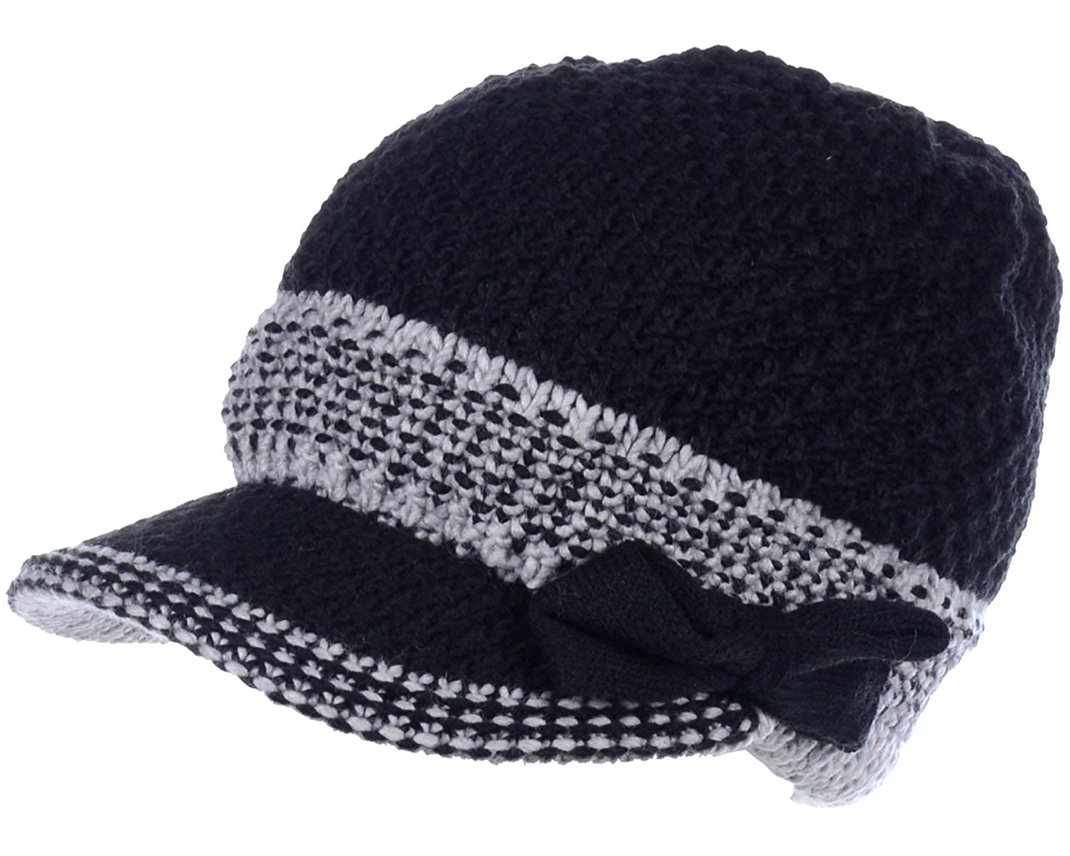 7327d43f0 Be Your Own Style BYOS Womens Winter Chic Cable Warm Fleece Lined Crochet  Knit Hat W/Visor Newsboy Cabbie Cap