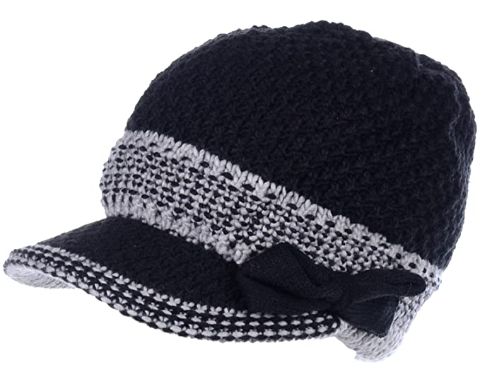 f22d9883079 BYOS Womens Winter Chic Cable Knitted Newsboy Cabbie Cap Beret Beanie Hat  with Visor