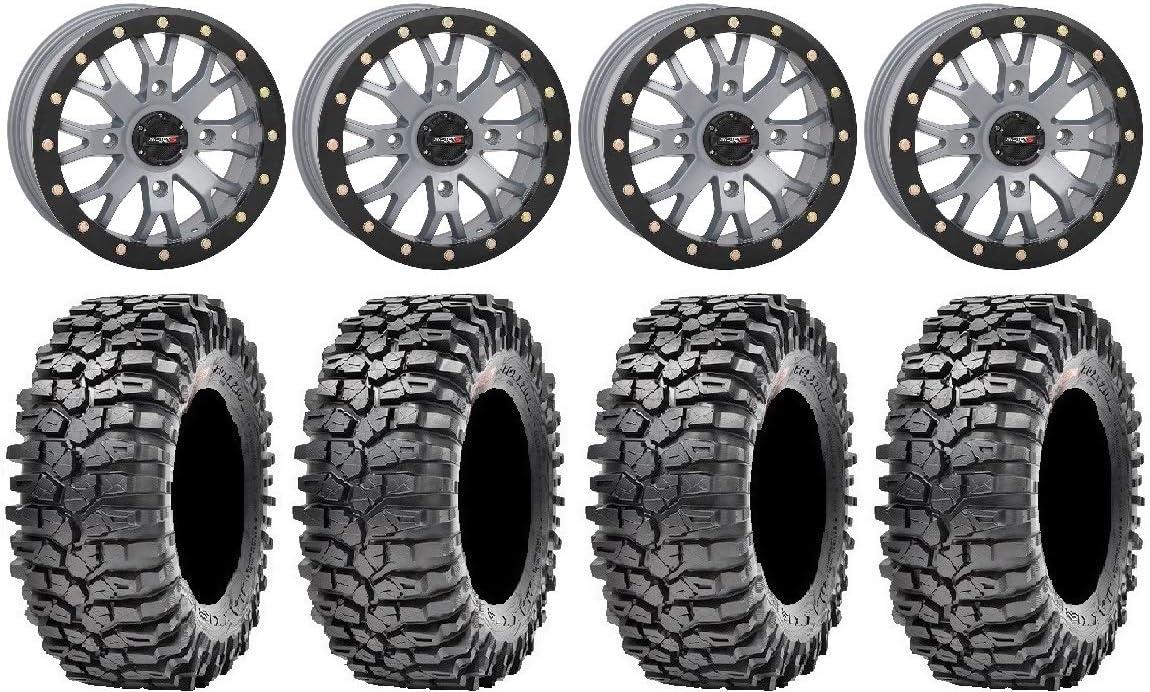 4x156 Bolt Pattern 12mmx1.5 Lug Kit 6+1 9 Items: System 3 SB-4 Grey Bundle 14 Wheels 30 Roxxzilla Tires