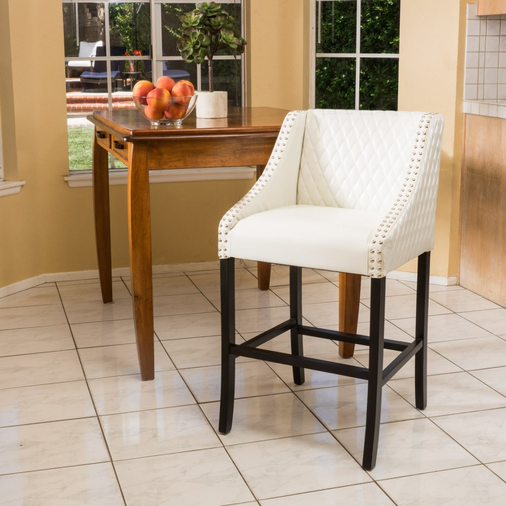 Amazon.com Best Selling Milano White Quilted Leather Bar Stool Kitchen u0026 Dining & Amazon.com: Best Selling Milano White Quilted Leather Bar Stool ... islam-shia.org