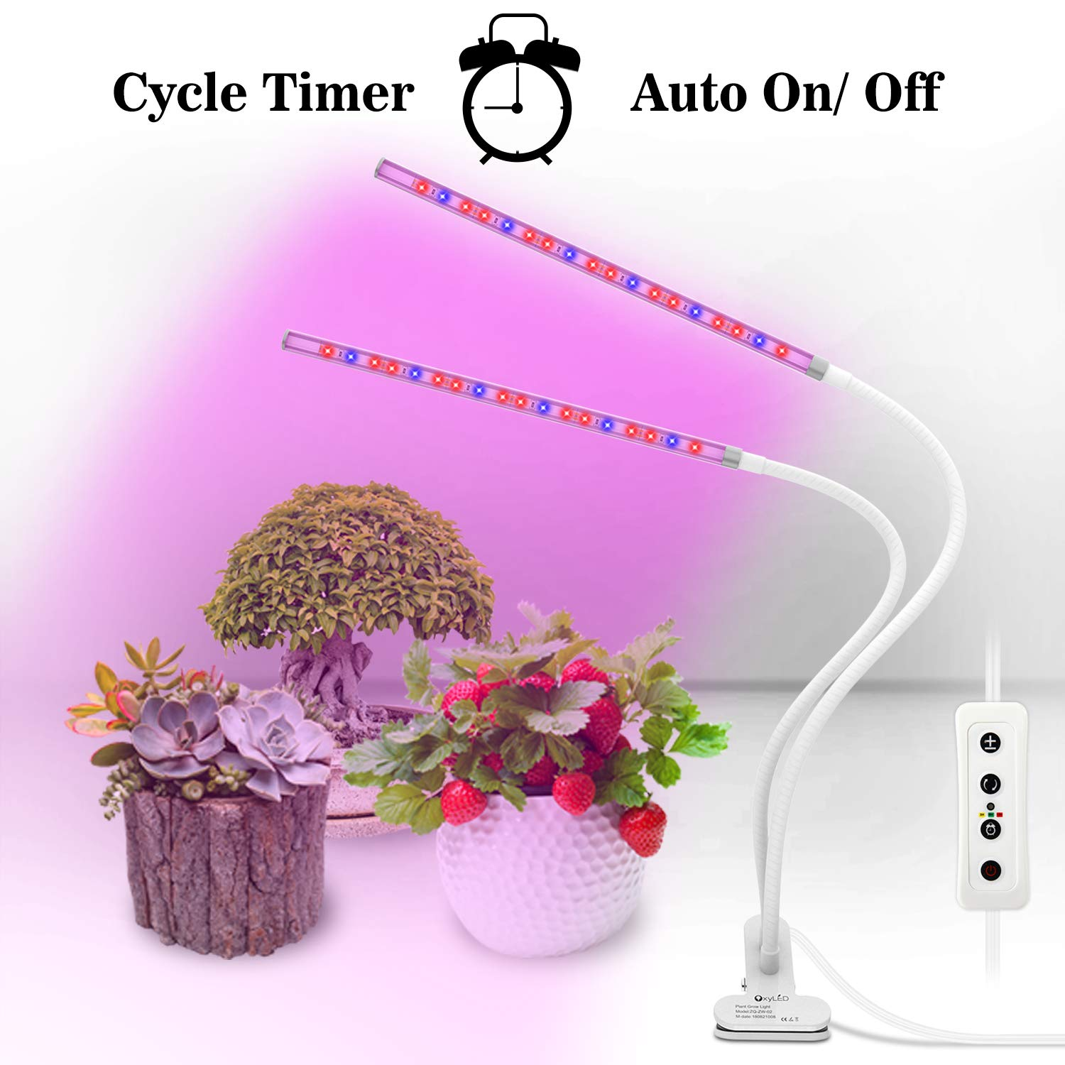 OxyLED Grow Light for Indoor Plants, Timing Function Dual Head Plant Light, 36 LED 5 Dimmable Levels Grow Lamp with Flexible Gooseneck for Hydroponics Greenhouse Gardening by OxyLED (Image #9)