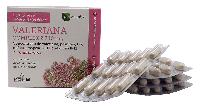 Bio-Dis Valeriana concentrada 2.740 mg, ✔️ combinada con pasiflora, tila, melisa, amapola, 5-HTP, vitamina B-12 y Melatonina, relajante natural, ...