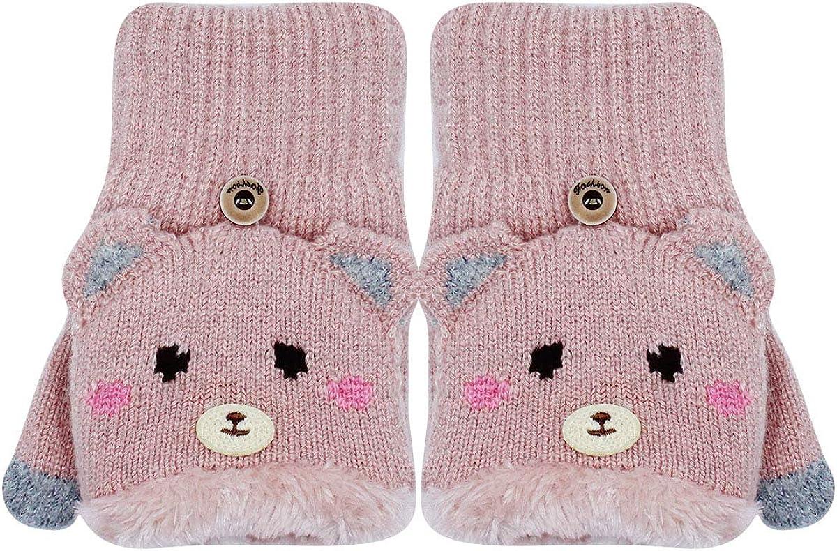 Women Girls Warm Fleece Lined Flip Cover Gloves Cute Bear Half Finger Fingerless Knitted Mittens Gift