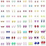 Hanpabum 72Pairs Stud Earrings for Women Flower Animals Trees Heart Cute Hypoallergenic Earrings Set